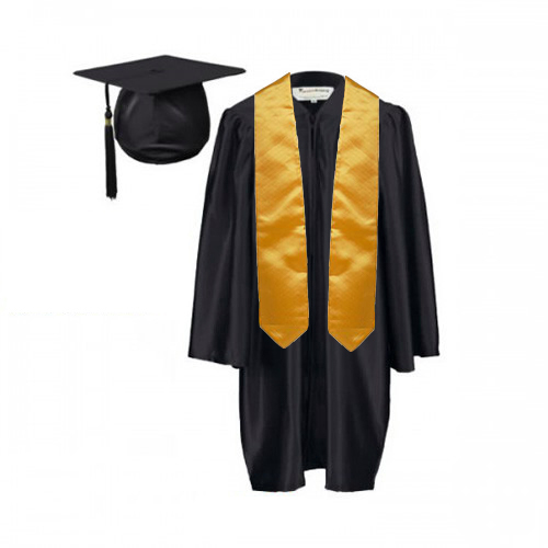 Childrens Graduation Gown And Stole Set In Satin Finish 7 13yrs