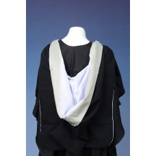 Full shape black hood with white lining, edged in cream