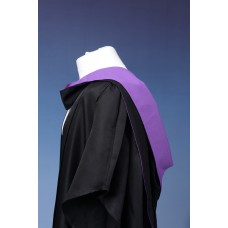 Full shape black hood with purple lining