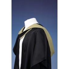Full shape black hood with gold lining