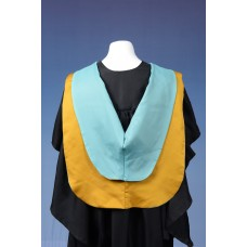 Full shape yellow hood with light blue lining