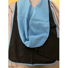 Full shape black hood with blue lining and blue edging