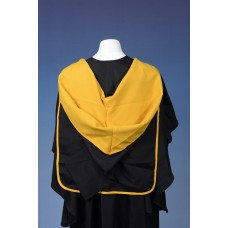 Full shape black hood with old gold lining and old gold edging
