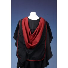 Full shape black hood with red lining and red edging