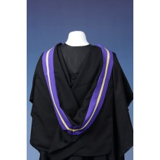 Full shape black hood, part lined purple with gold strip