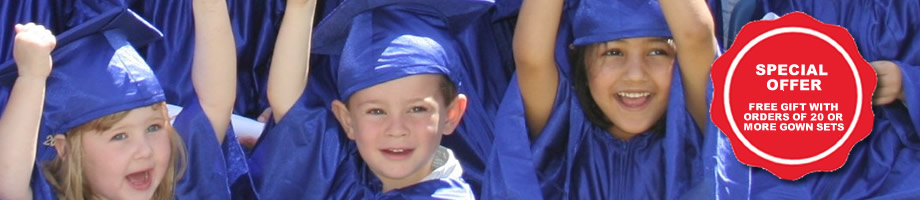 View our range of Pre-school and Nursery Graduation gowns and hat sets